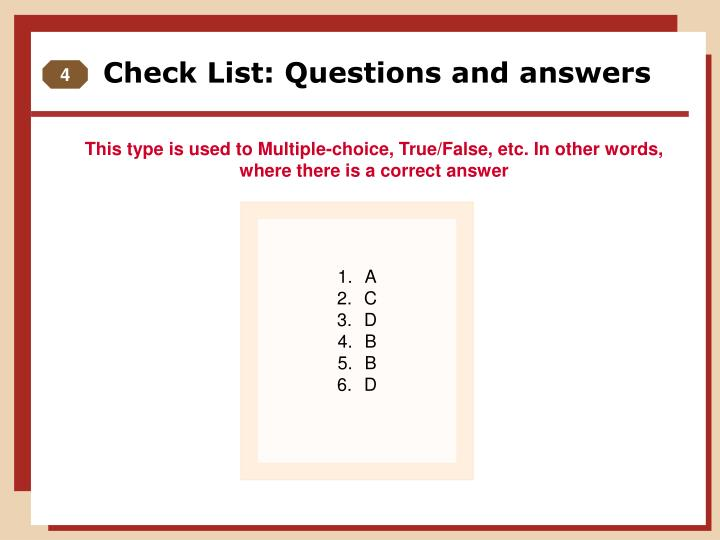 Check List: Questions and answers