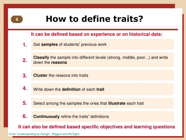 How to define traits?