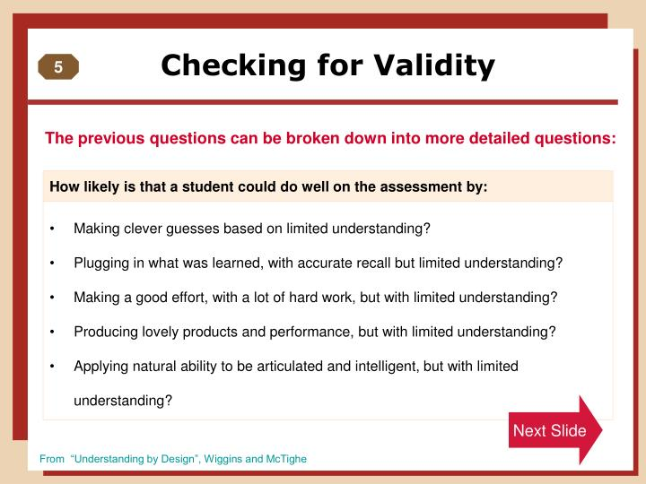 Checking for Validity