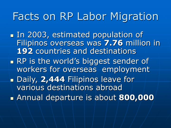 Facts on RP Labor Migration