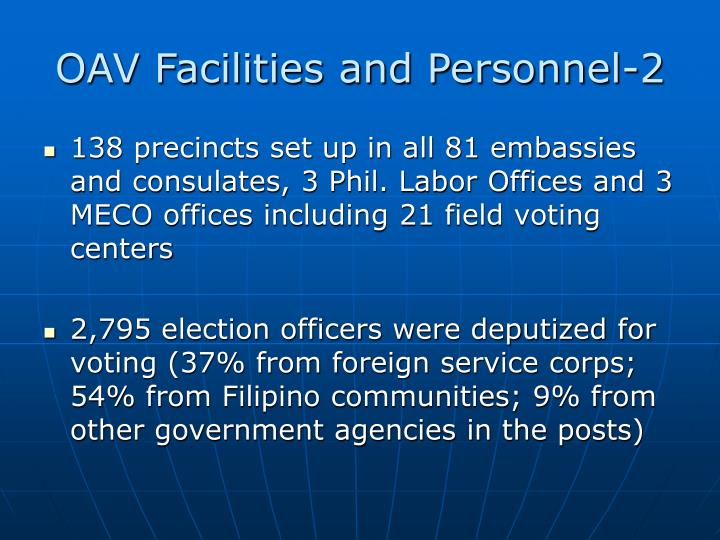 OAV Facilities and Personnel-2