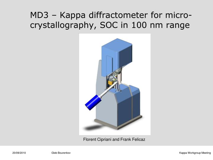 MD3 – Kappa diffractometer for micro-crystallography, SOC in 100 nm range