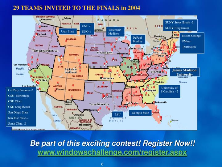 29 TEAMS INVITED TO THE FINALS in 2004