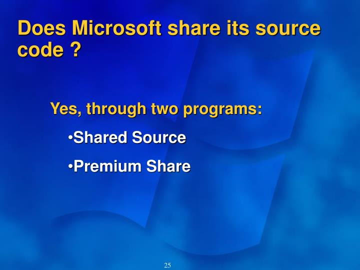 Does Microsoft share its source code ?