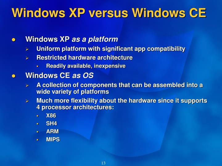 Windows XP versus Windows CE