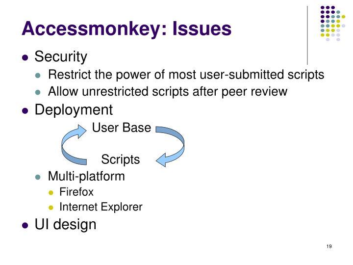 Accessmonkey: Issues