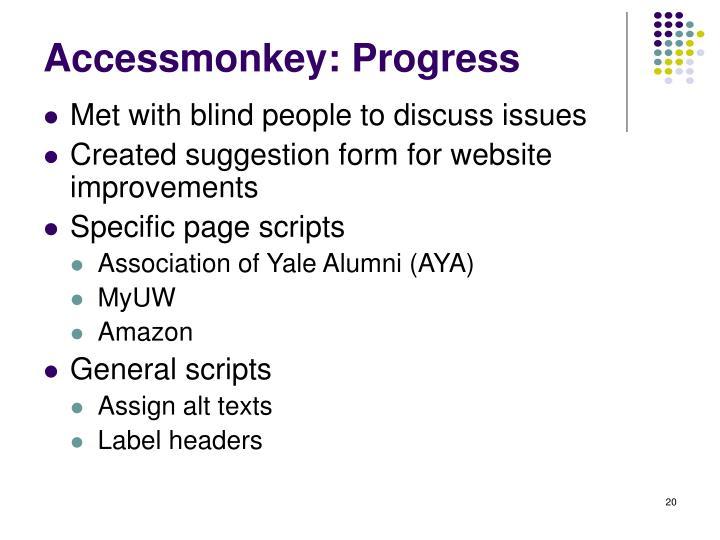 Accessmonkey: Progress