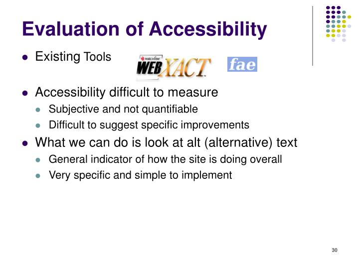 Evaluation of Accessibility
