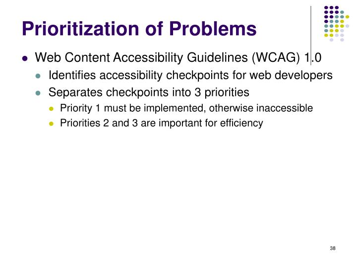 Prioritization of Problems