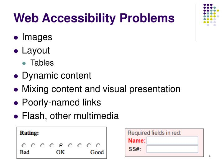 Web Accessibility Problems