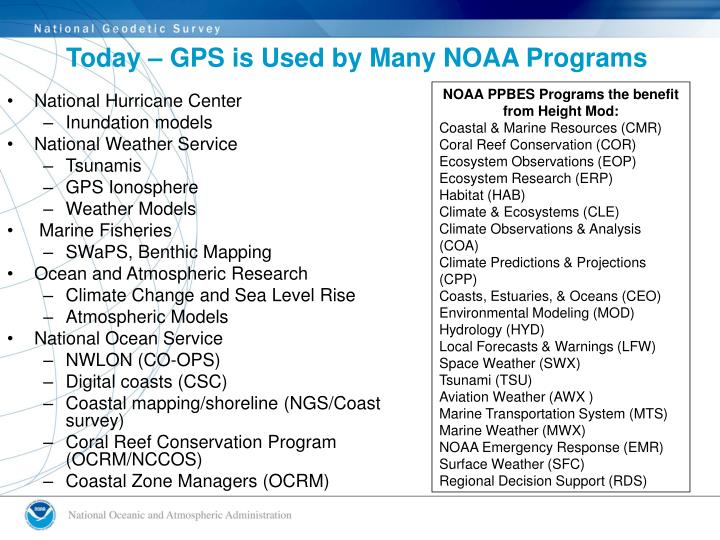 Today – GPS is Used by Many NOAA Programs