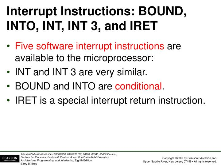 Interrupt Instructions: BOUND, INTO, INT, INT 3, and IRET