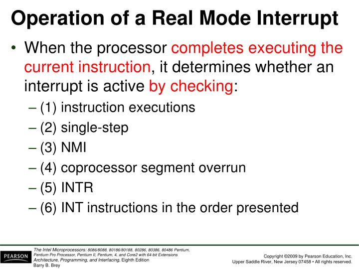 Operation of a Real Mode Interrupt