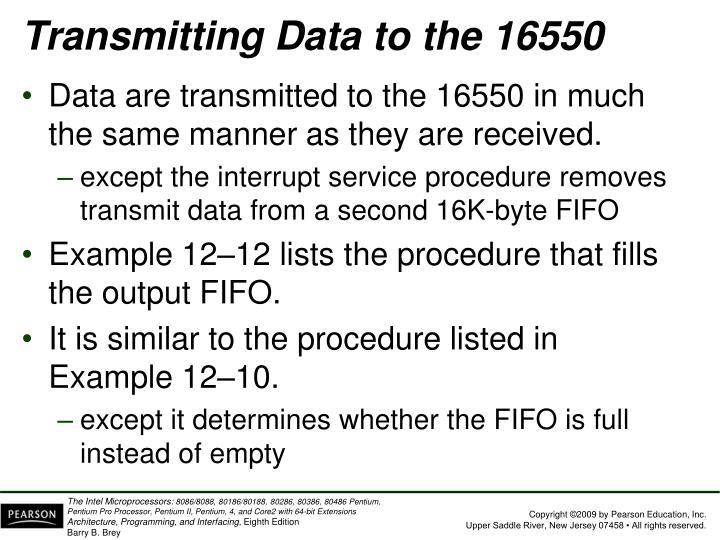 Transmitting Data to the 16550