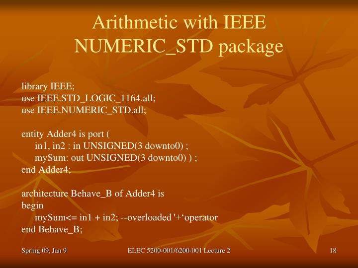 Arithmetic with IEEE NUMERIC_STD package