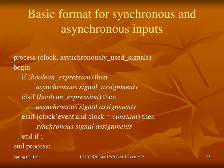Basic format for synchronous and asynchronous inputs