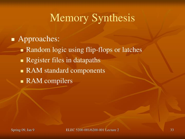 Memory Synthesis