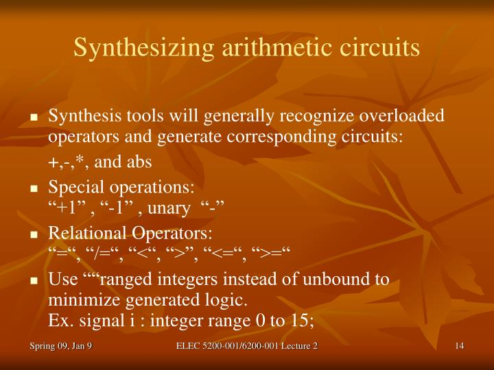 Synthesizing arithmetic circuits