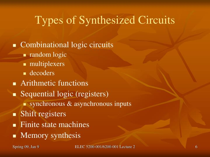 Types of Synthesized Circuits