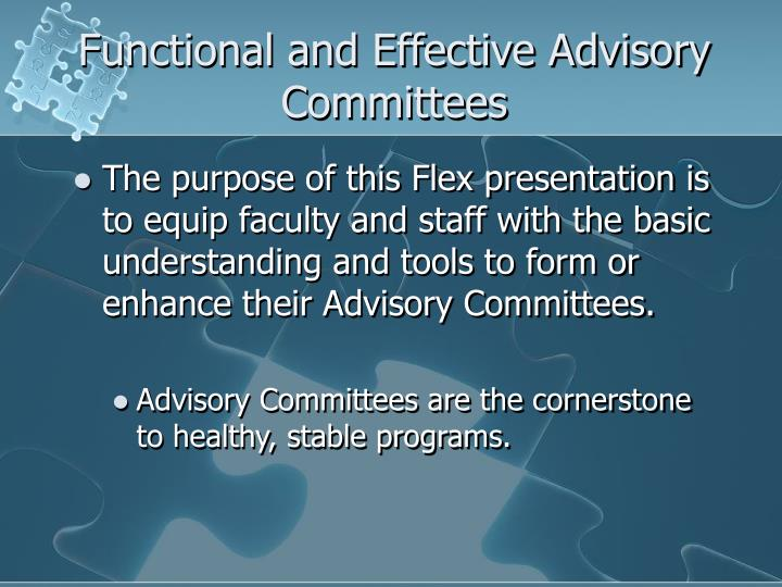 Functional and effective advisory committees