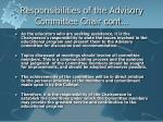 responsibilities of the advisory committee chair cont
