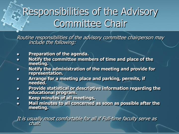 Responsibilities of the Advisory Committee Chair