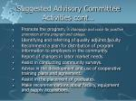 suggested advisory committee activities cont