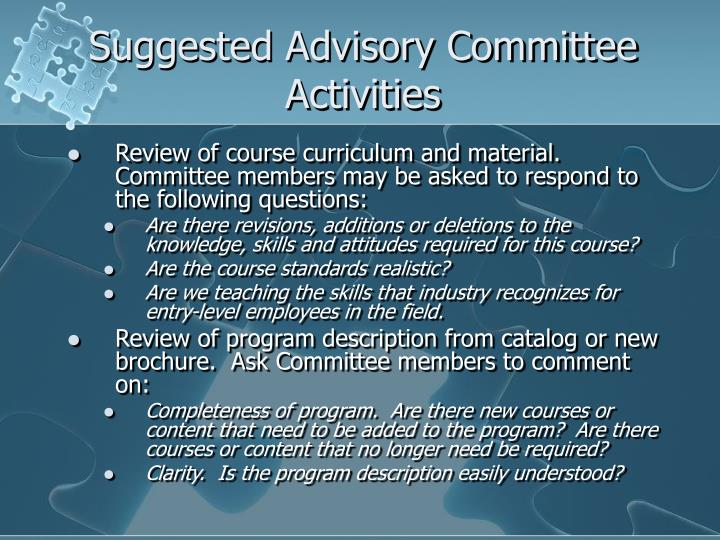 Suggested Advisory Committee Activities