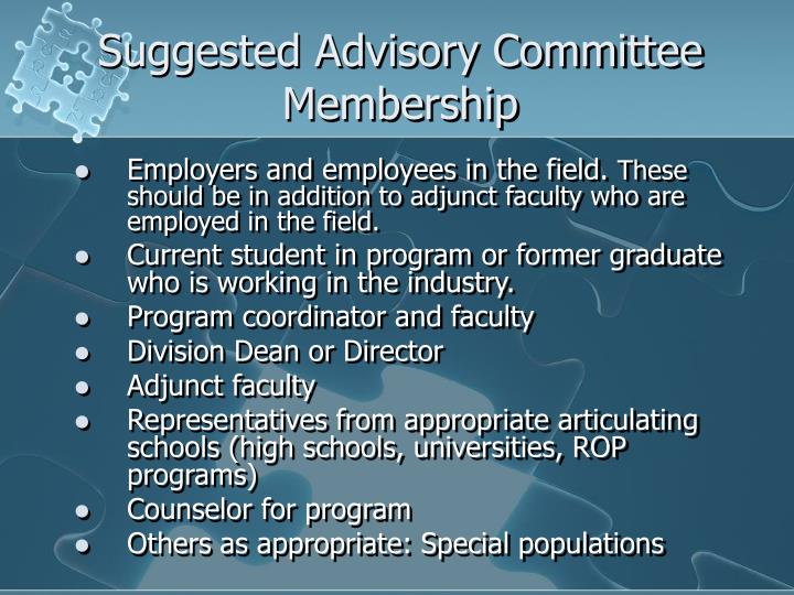 Suggested Advisory Committee Membership