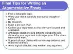 final tips for writing an argumentative essay