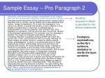 sample essay pro paragraph 2