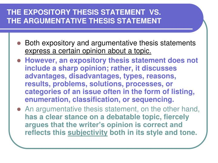 THE EXPOSITORY THESIS STATEMENT