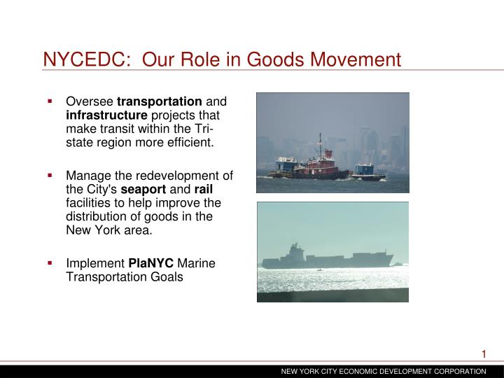 NYCEDC:  Our Role in Goods Movement
