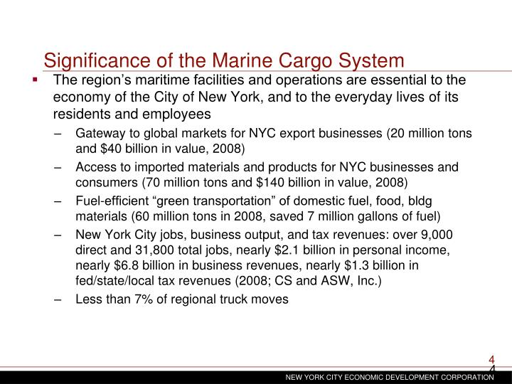 Significance of the Marine Cargo System