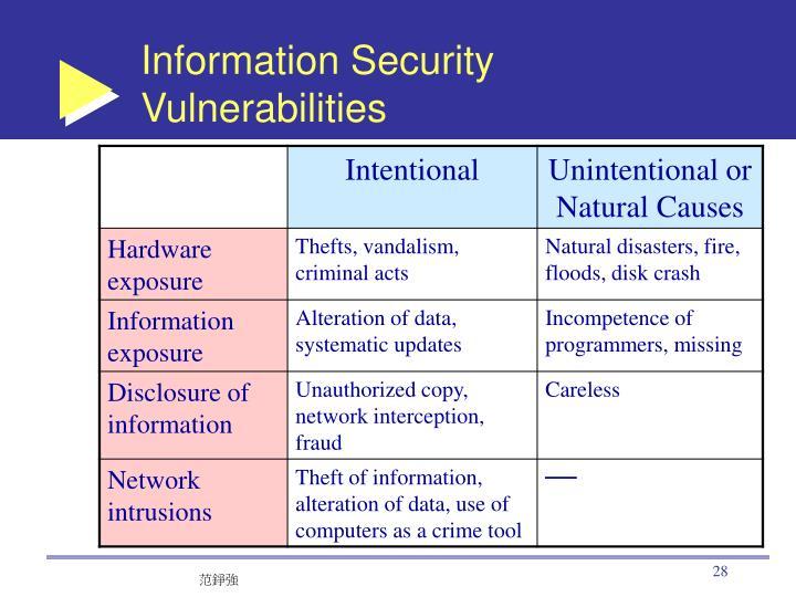 Information Security Vulnerabilities