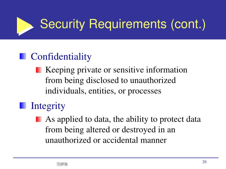 Security Requirements (cont.)