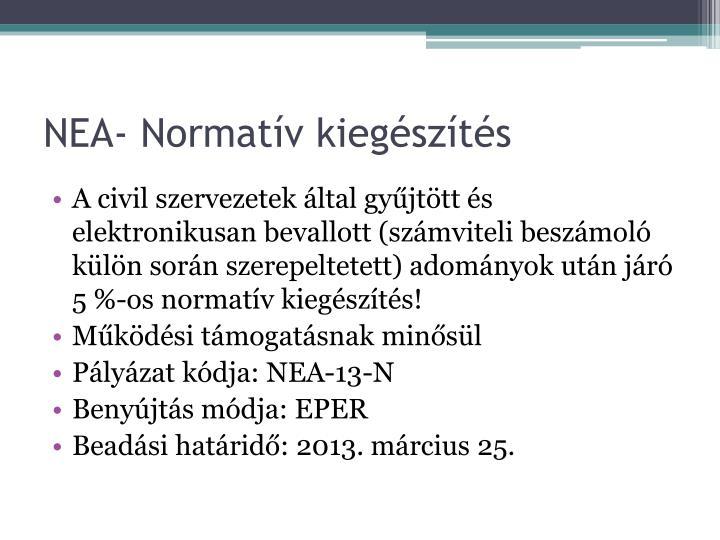 NEA- Normatív kiegészítés