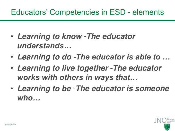 Educators' Competencies in ESD - elements