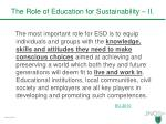 the role of education for sustainability ii