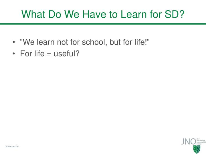 What Do We Have to Learn for SD?