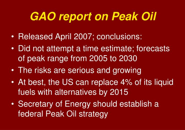 GAO report on Peak Oil