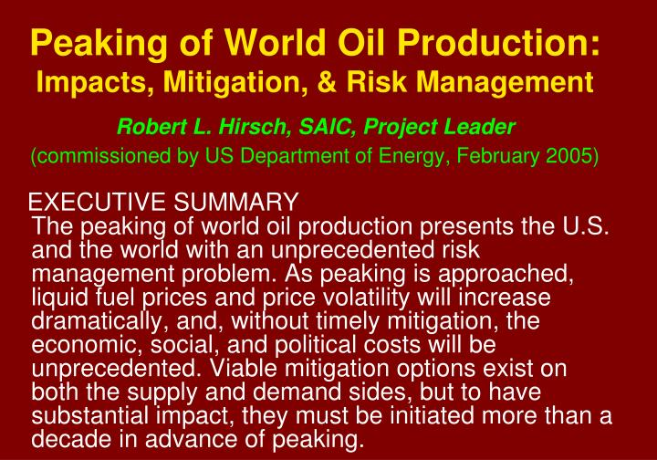 Peaking of World Oil Production: