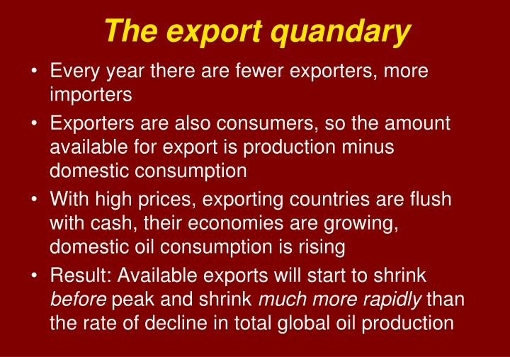 The export quandary
