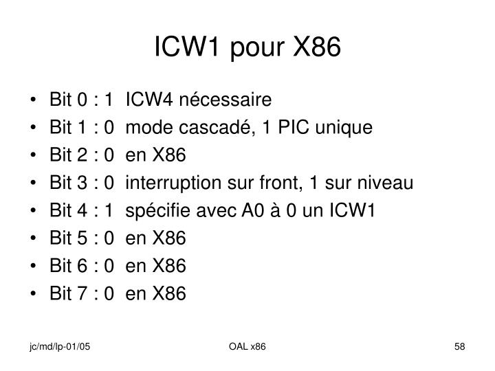 ICW1 pour X86
