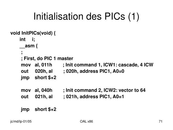 Initialisation des PICs (1)