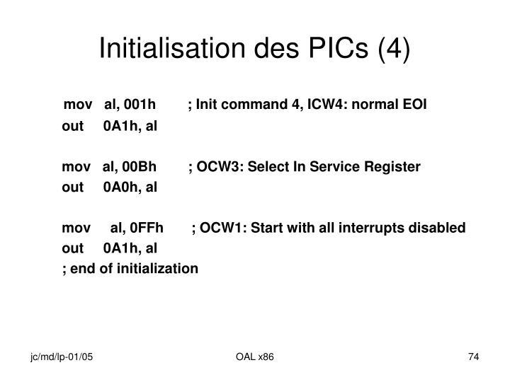 Initialisation des PICs (4)