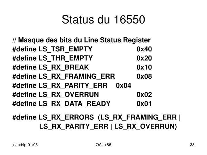 Status du 16550