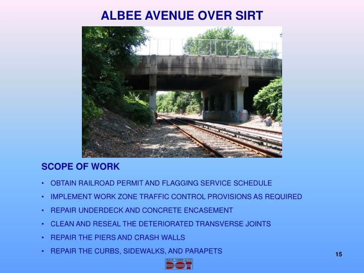 ALBEE AVENUE OVER SIRT