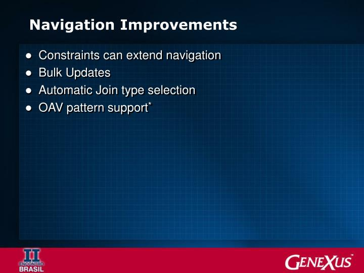 Navigation Improvements