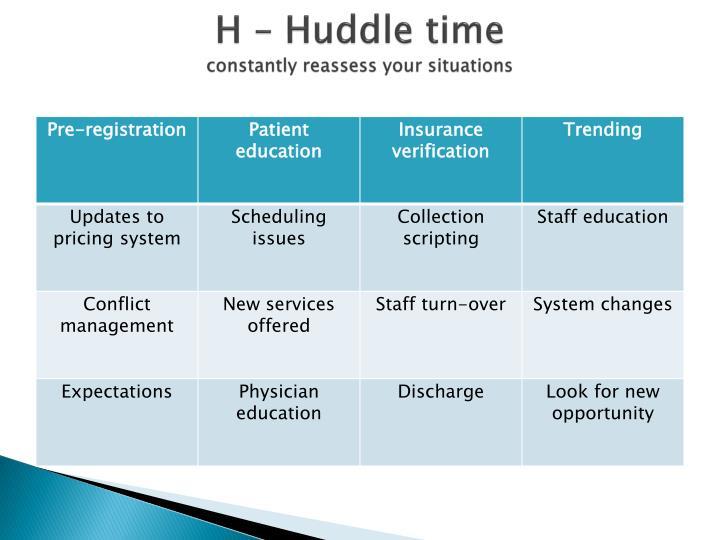 H – Huddle time